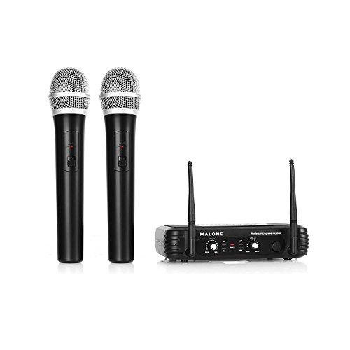 Malone UHF-250 Duo 1 • 2-Kanal UHF-Funkmikrofon Set • Funk-Mikrofon System • 2 x kabelloses Handmikrofon • Frequenzband: 823 - 832 MHz • LED • lange Betriebszeiten • 2 x XLR- und 1 x Klinken-Ausgang • Stabantennen • Lautstärkeregler • schwarz