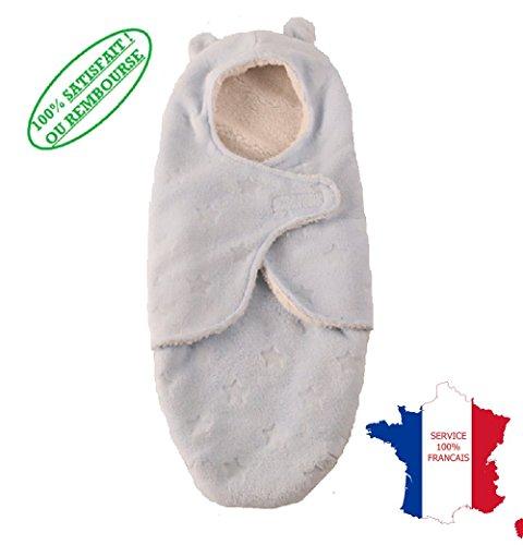 ❤ KWIM'S France ❤ Gigoteuse hiver garçon idéale GRAND FROID -nid d'ange bébé garçon - couverture d'emmaillotage naissance à 6 mois - cadeau naissance (Bleu clair)