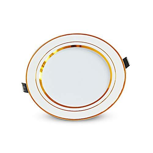 Xgaw Eingebettetes dreifarbiges Dimm-LED-Downlight Golden Rim Luxuriöse Dekoration Downlight Effiziente Wärmeableitung Energiesparende Downlights Hohe Lichtdurchlässigkeit Deckenleuchte (Größe : 5w) Golden Rim