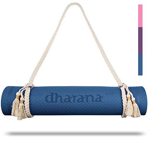 Dharana Tappetino Yoga Antiscivolo - Tappetini Palestra Fitness Sport Pilates Ginnastica - Mat Ecologico - Stuoia da Yoga Cinghia di Trasporto (Blue)