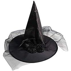 MXJEEIO Sombrero de Bruja mágica de Tela Oxford de Halloween Sombrero mágico Sombrero de Mago Gorras Juguetes de Fiesta Cosplay para Adultos y niños Sombrero de Aguja