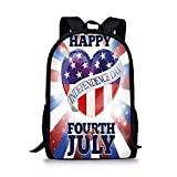 gthytjhv 4th of July Decor,Cute Little Bulldog Puppy Waving US Flag and Hat Celebrating Artsy Picture Boy Girl School Backpack Mens Womens Sports Bag
