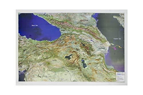 Mapa en relieve del Mar Caspio: Escala gráfica
