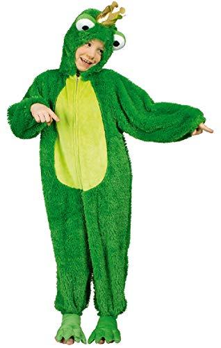 narrenkiste K332535/T2888-140-152 grün-gelb Kinder Froschkönigoverall Tierplüschkostüm - Frosch Prinz Und Prinzessin Kostüm
