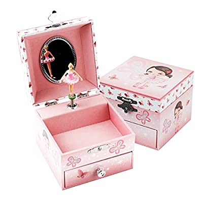TAOPU Sweet Square Musical Jewelry Box with Pullout Drawer and Music Box with dancing Ballerina Girl inside Jewel Storage Case for Girls