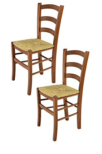 Tommychairs - set 2 sedie modello venice per cucina e sala da pranzo, con robusta struttura in legno di faggio verniciata color noce e con seduta in paglia vera