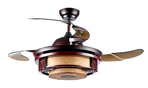 Diámetro 110cm de la lámpara Estilo retro Material de madera maciza Sala Dormitorio Imitación Papel de pergamino Lámpara Led Fan