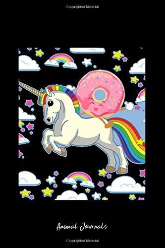 Grid Journal - Unicorn Doughnut Rainbow Sky Cute Donut Magic Fantasy Gift - Black Dotted Diary, Planner, Gratitude, Writing, Travel, Goal, Bullet Notebook - 6x9 120 page ()