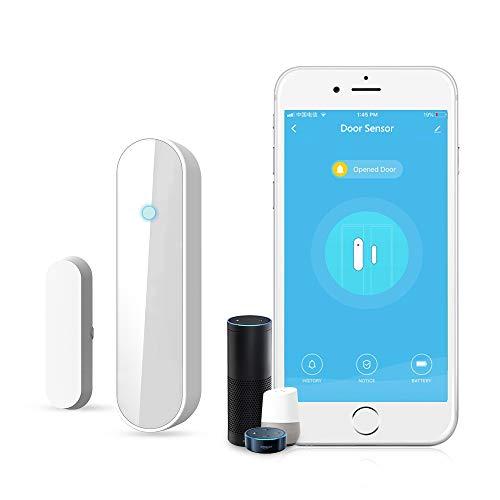 Wireless WiFi Tür & Fenster Sensor Magnete Sicherheit Tür offen Chime APP kontrolliert Kompatibel mit Alexa Google Assistant IFTTT, Alarm-Benachrichtigung aufs Handy, IFTTT-fähig, Batterie-Betrieb