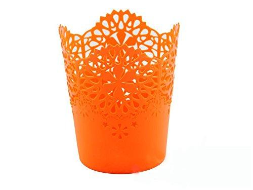 LAAT Pot de Fleur en Plastique Style Creux Floral Organisateur de Pinceau de Maquillage (Orange)