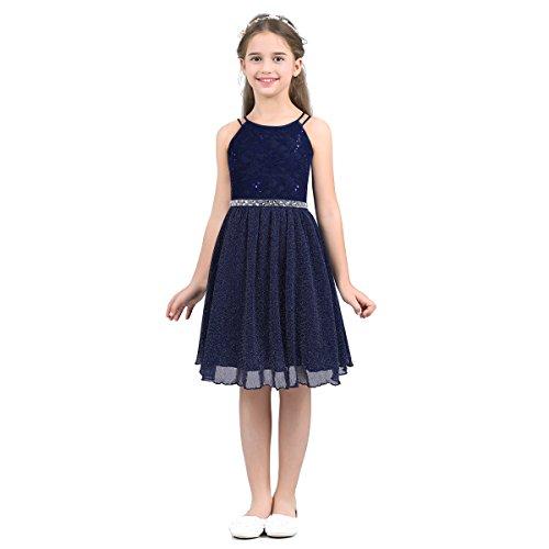 Freebily Mädchen Spitze Kleid festlich Partykleid Knielang Prinzessin Blumenmädchen Kleid Brautjungfernkleid Elegant Festkleid Ballkleid Marineblau 116/6 Jahre (Blumenmädchen Elegante Kleid)