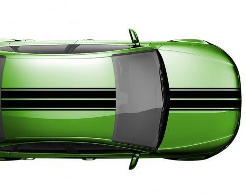Viperstreifen 14 x 200 cm Rennstreifen Auto Tuning Autoaufkleber Viper 2N005, Farbe:Schwarz Matt