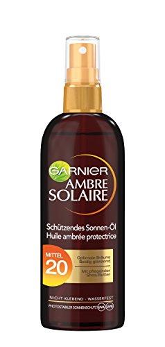 Garnier Ambre Solaire Schützendes Sonnen-öl Sonnenöl-Spray, Mittel 20, 3er Pack (3 x 150ml)