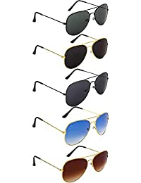 NuVew Combo Pack of 5 Aviator Unisex Sunglasses (Multicolor | Medium Size | UV Protection)