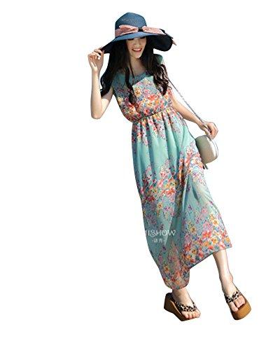 Moollyfox Femmes Sans Manches Robe Plage Robe De Vacances Floral Jupe Bohème De Plage Robe De Mousseline Vert