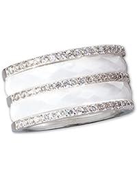 Weisser Ring aus Keramik mit 925er Sterling Silber und Zirkonia