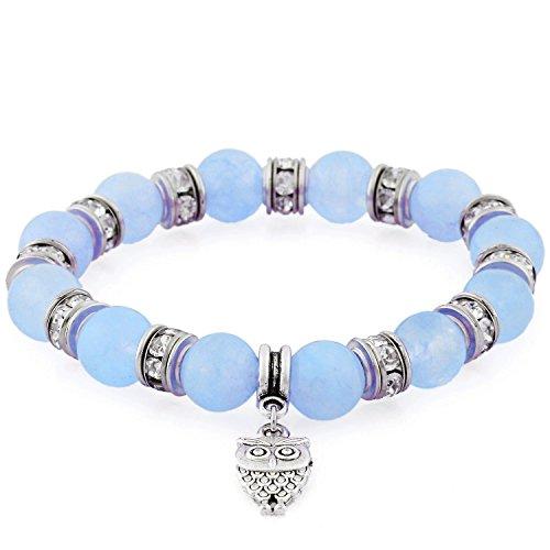 Morella Bracciale Donna con Perle e Ciondolo Gufo e zirconi Elastico Blu Chiaro