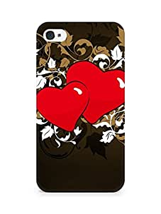 Amez designer printed 3d premium high quality back case cover for Apple iPhone 4 (Heart patterns colorful bright)