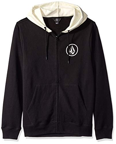 Volcom Men's Single Stone Zip-Up Long Sleeve Fleece Hoodie Black Combo M (Dope Zip-up Hoodie)
