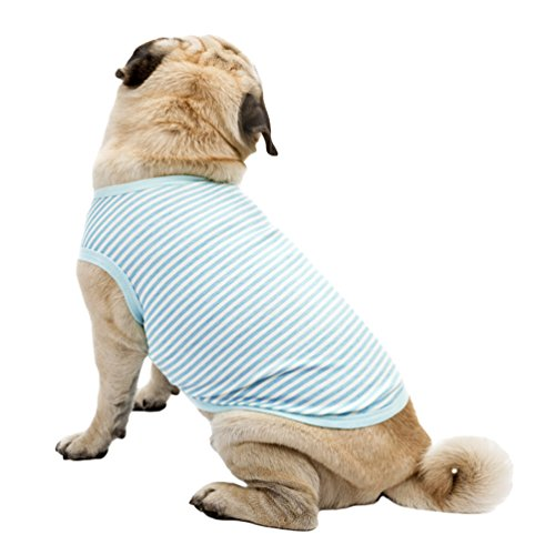YiJee Kleine Hundchen Streifen Atmungsaktiv T-Shirts Haustier Hund Weste Kleidung Blau L - Blaue Streifen-blues Shirt