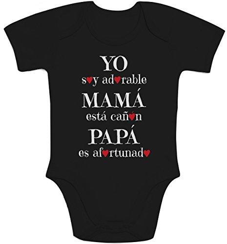 Yo soy adorable Mamá está cañon Papá afortunado Body bebé manga c