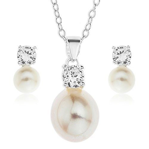 Ornami Sterling Silver Pearl and Cubic Zirconia Pendant and Earring Set with 46 cm Chain