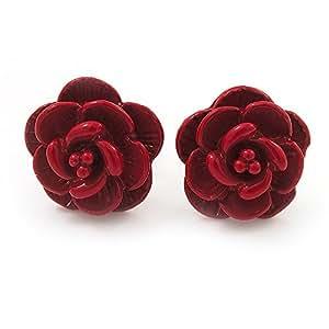 """Petites boucles d'oreille """"Rose"""" rouge en métal ton argent - diamètre 10mm"""