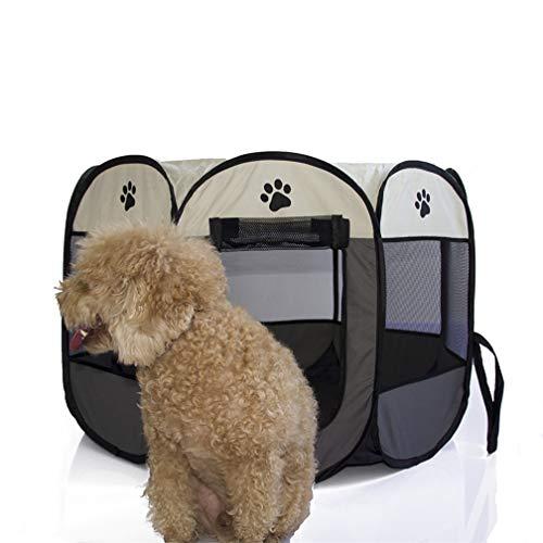 Yeying123 Haustier Hund Katze Playpens Cage Crate Tragbare Weiche Pet Laufstall Folding Übung Kennel für Indoor & Outdoor,Gray,S -