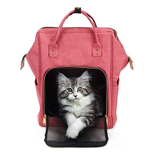 Petcomer Mochila Portátil para Gato Pequeños Cachorro de Perros Portador de Gato para Caminar Viaje (43x30x20 cm, Rosa)