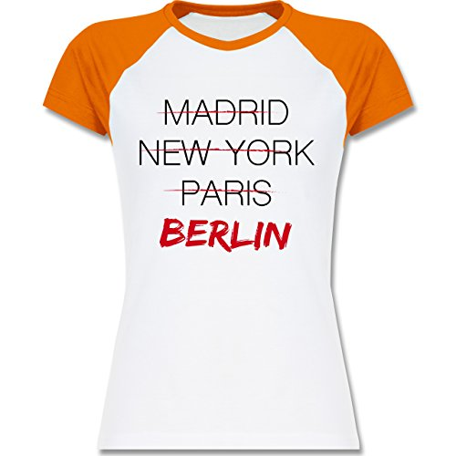 Städte - Weltstadt Berlin - zweifarbiges Baseballshirt / Raglan T-Shirt für Damen Weiß/Orange