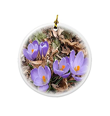 Rikki Knight Lavender Flowers Signs of Spring Design Round Porcelain