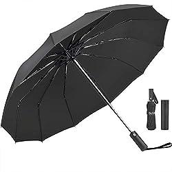 Umbrella,JUKSTG 12 Ribs Auto Open/Close Windproof Rain Umbrella, Waterproof Travel Umbrella, Portable Umbrellas With Ergonomic Handle,Black