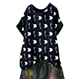 Camiseta De Mujer Manga Corta Hueso De Pescado Impresión Blusa Camisa Cuello Redondo Basica Camiseta Suelto Verano Camisas Mujer Verano Elegantes Tallas Grandes (Azul Marino, 2XL Bust:116cm/45.67'')