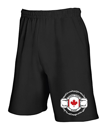 Cotton Island - Pantalone Tuta Corto TRUG0099 canada rugby logo Nero