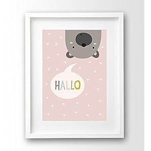 Hallo Bär Kinderposter ungerahmt A4, Tierposter, lustiges Kinderbild rosa