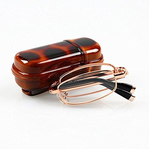 TENGGO Falten Lesegläser Männer Frauen Metallrahmen Tragbare Presbyopic Gläser Mit Brille Fall-3.0