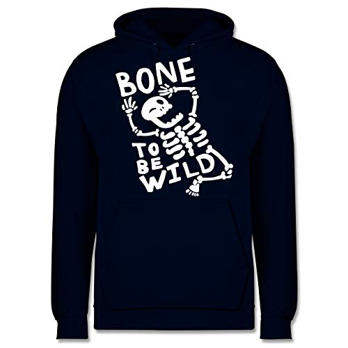 Halloween - Bone to me Wild Halloween Kostüm - XS - Navy Blau - JH001 - Herren Hoodie (Zwei Wilden Und Verrückten Halloween Kostüm)