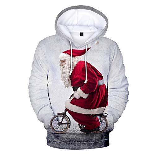 KPILP Herren Fun Hoodie Kapuzenpullover Weihnachten Langarm Sweatshirt Pullover Lässiger Tops Jumper 3D Druck Hooded Weihnachtspullover