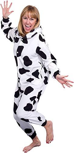 (Memoryee Milchkuh Tier Cosplay Kostüm Erwachsene Pyjamas Plüsch Kostüm Idee/Schwarz und weiß/XL)