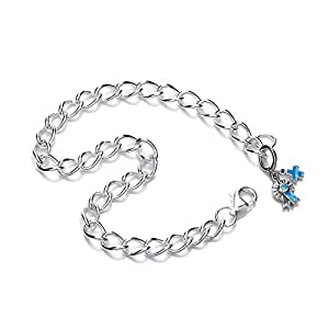 Blue Cross Animal Charity Rhodium Plated Silver Charm Bracelet with Rosette and Blue Cross Cubic Zirconia Charm of Length 19.5cm