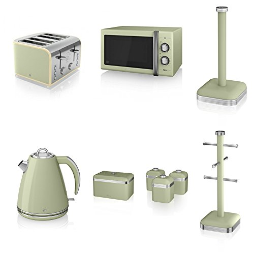 Swan Kitchen Appliance Retro Set - Green 25l Manual Microwave, 1.5l Jug Kettle, 4 Slice Toaster, Retro Breadbin, 3 Canisters Set, Retro Towel Pole & 6 Mug Tree