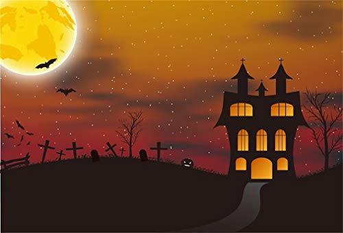 YongFoto 3x2m Vinyl Foto Hintergrund Halloween Spukhaus Friedhof Grab Grabstein Nacht Fotografie Hintergrund für Fotoshooting Fotostudio Requisiten