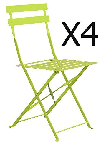 PEGANE Lot de 4 chaises de Jardin en Acier époxy Coloris Vert anis Mat - Dim : 41 x 46 x 80 cm
