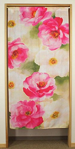 Narumikk narumi noren(Japanese curtain) long size SUISAI flower (Watercolor  floral Pattern) 10290 from Japan