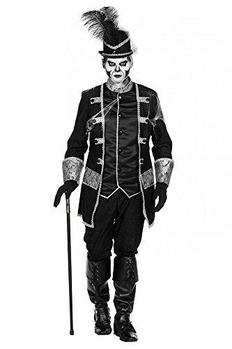 shoperama Uniformjacke mit Weste und Hose Herren-Kostüm Voodoo oder Pirat Schwarz/Silber Halloween Mantel, Größe:58
