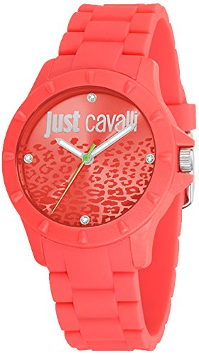 Just Cavalli Women's Quartz Watch with Red Dial Analogue Display and Red Rubber Bracelet R7253599503