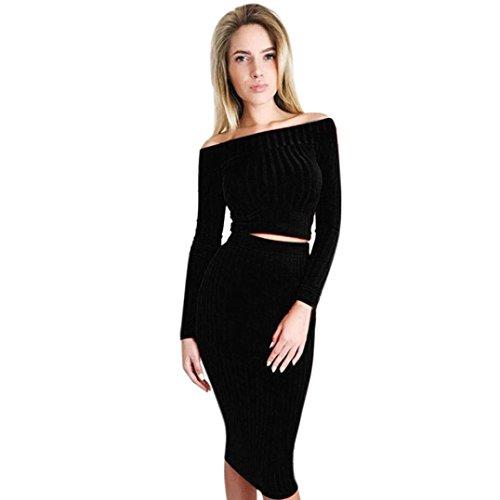 Damen Kleid Longra Damen Lange Ärmel aus der Schulter Knitted Top Bluse + Röcke Two-Piece Outfit Damen Abend-Partei-kleid Herbst-Winter Strickkleid (M, (Outfits Kleinen Sexy)
