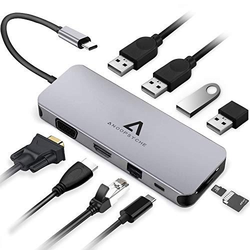 Anoopsyche Hub USB C, Alluminio, Adattatore USB C con HDMI 4K, 1080P VGA, Gigabit Ethernet RJ45, 4 USB 3.0/2.0, Type C PD 100W, Lettore di Schede SD/TF, per MacBook Pro e Altri Dispositivi di Tipo C