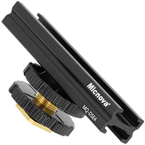 Micnova Professionelle Blitzschuhschiene Erweiterungsschiene Verlängerungsschiene 10,2 cm - geeignet für den ISO-518 Zubehörschuh Ihrer Kamera mit 1/4...