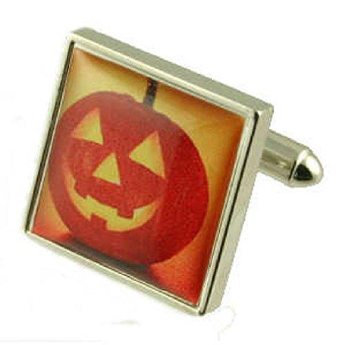 Halloween Manschettenknöpfe für Herren Manschettenknöpfe Sterling Silber 925massiv + personalisierte Gravur Box